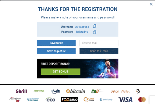 1xbet thank you for registration
