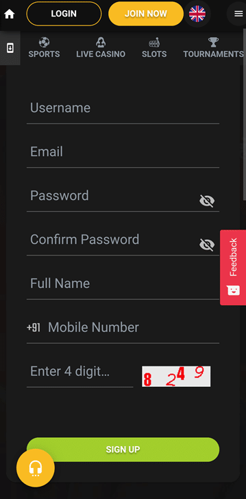 Jeetwin registration form mobile