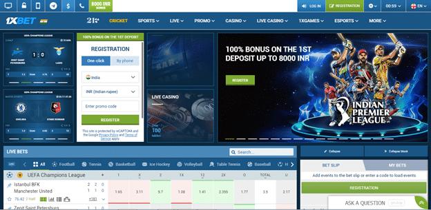 1xbet India website design