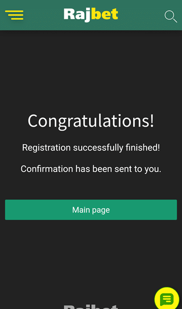 RajBet registration success screenshot mobile